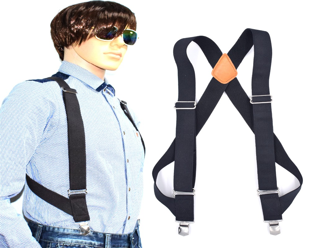 Men And Women Wear 2 clip Straps Working And Casual Adults, Pure Colored Suspenders