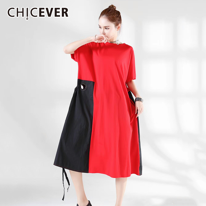 CHICEVER 2018 Summer Women Dress Female Patchwork Hit Colors Short Sleeve loose big Size Bandage Dresses For Women Clothes New