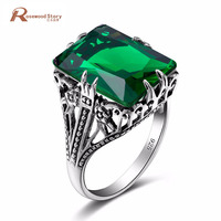 Luxury Brand Women Ring Carving Cut Square Green Rhinestone Solid 925 Sterling Silver Ring for Party Wedding Vintage Jewelry