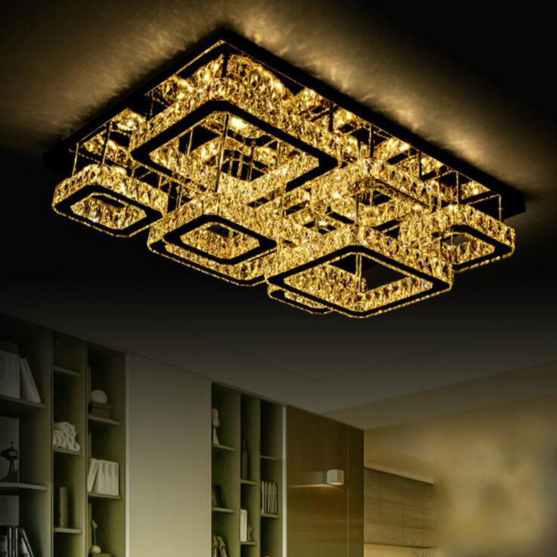 New modern simple living room lobby lights LED ceiling lamp creative bedroom study rectangular crystal lamp remote control lamps fashion modern crystal floor lamp living room lights bedroom lamps crystal french modern stand lights crystal abajur cristal