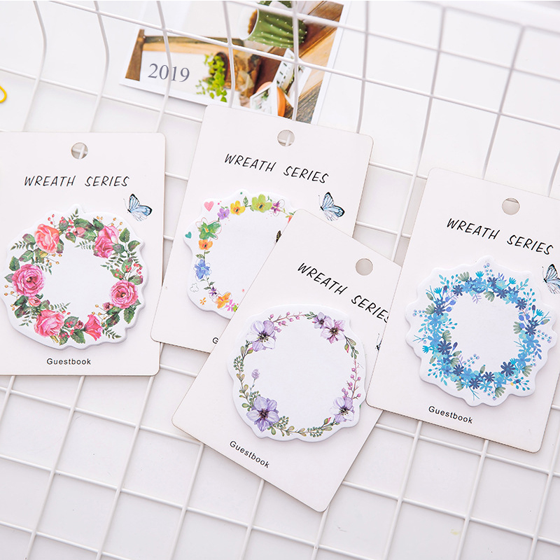 1 Pcs New Korean Kawaii Flower Wreath Sticky Notes Creative Post Planner Notepad DIY Memo Pad Office Supplies School Stationery in Memo Pads from Office School Supplies
