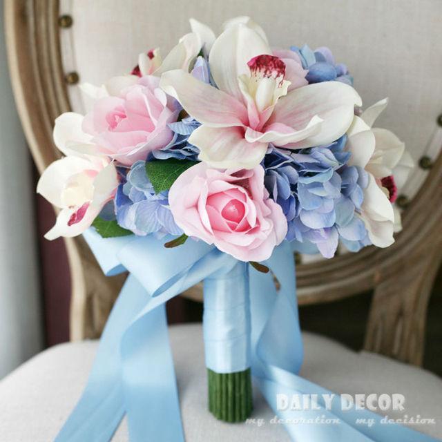 Blue + Pink color Artificial silk rose Hydrange flower wedding bride ...