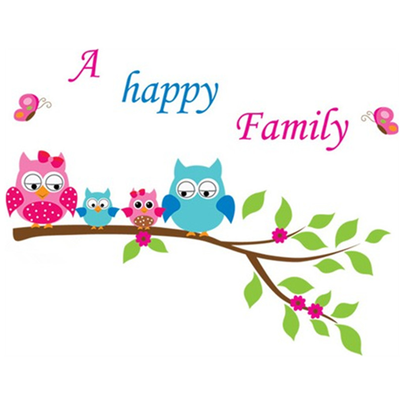 Buy on the tree branch cute owl happy for Stickers para dormitorios infantiles
