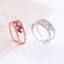 US $2.07 10% OFF|Korean Rose Gold & Silver Cubic Zircon Double Layer Hollow Love Heart Open Rings for Women Girls Wedding Engagement Jewelry Gift-in Rings from Jewelry & Accessories on Aliexpress.com | Alibaba Group