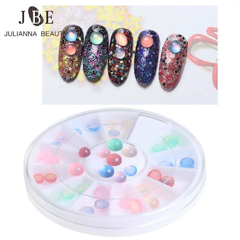 36ks / box Kočky Eye Stone Jelly Resin Vrtačka FlatBack drahokamu UV Gel DIY Barva korálek Round Nail Art Dekorace Nail Stud 4mm 5mm