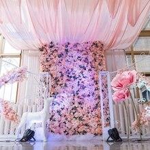 DIY artificial rose flower wall silk decorative flower hotel background wall decor DIY Road led wedding flower 60*40cm