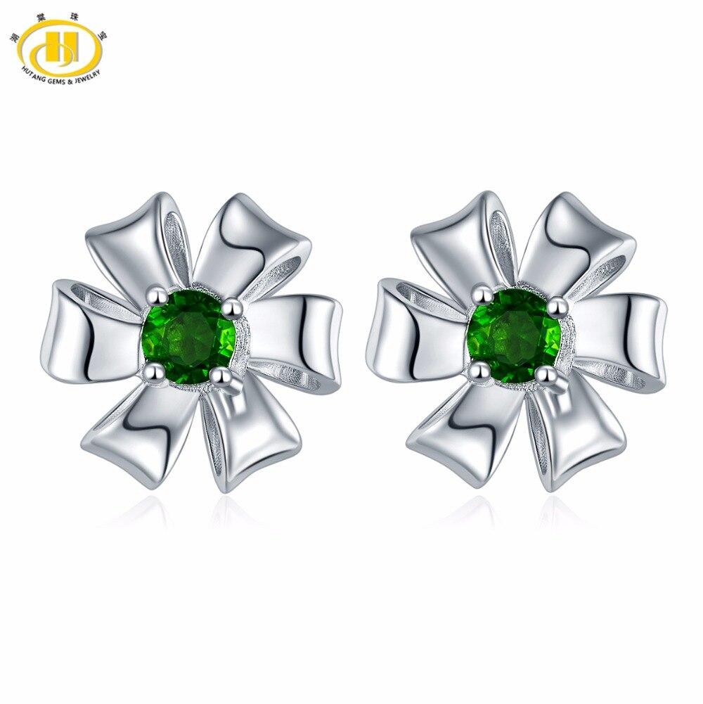 Hutang 2017 New Design Natural Chrome Diopside Flower Stud Earrings Solid 925 Sterling Silver Green Gemstone Fine Jewelry Women planet design gemstone stud earrings