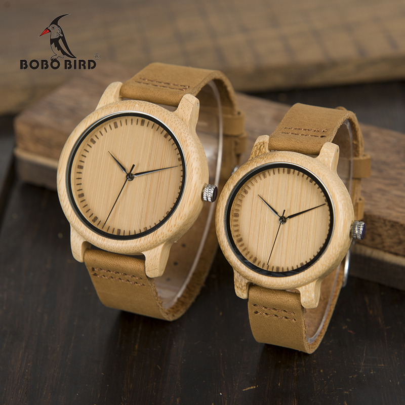 BOBO BIRD Lovers' Watches Women Relogio Feminino Bamboo Wood Men Watch Leather Band Handmade Quartz Wristwatch Erkek Kol Saati