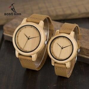 Image 1 - BOBO kuş severlerin saatler kadınlar Relogio Feminino bambu ahşap erkekler İzle deri Band el yapımı kuvars kol saati erkek kol saati