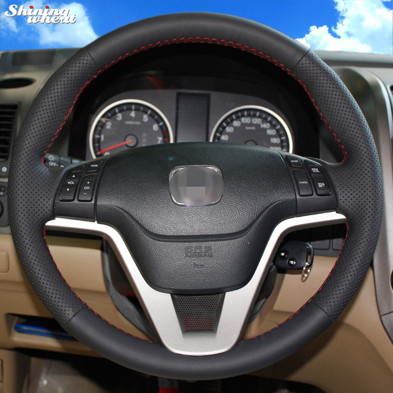 Shining wheat Hand stitched Black Leather Steering Wheel Cover for Honda CRV 2007 2011
