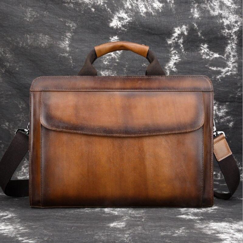Men Vintage Shoulder Cross Body Tote Handbag Genuine Leather Business Wipe color High Quality Computer Bag Handbags Men Bag