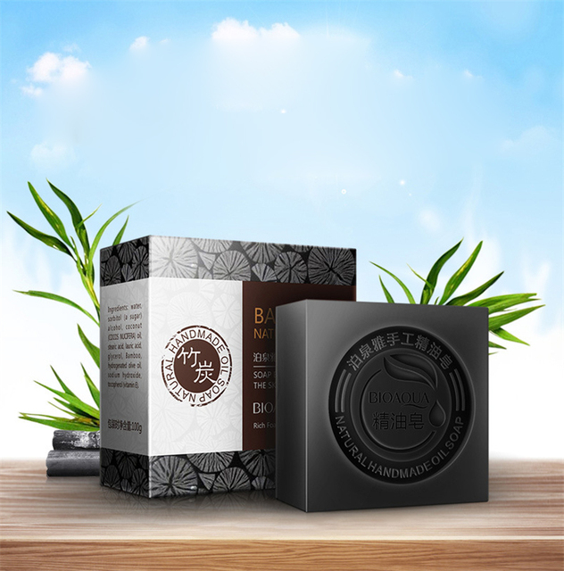 BIOAQUA Black Bamboo Charcoal Essential Oil Handmade Soap Acne Whitening Soap Deep Cleansing Oil-control Face Wash Hair Care 1