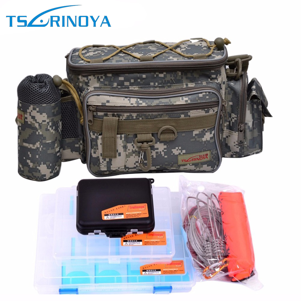 Trulinoya Multifunctional Fishing Bag Set Waterproof Fishing Tackle Bag With Lure & Accessories Box And Fish Locks trulinoya multi purpose fishing bag 24 15 cm fish lock lure box accessories box style fishing bag set fishing tackle best