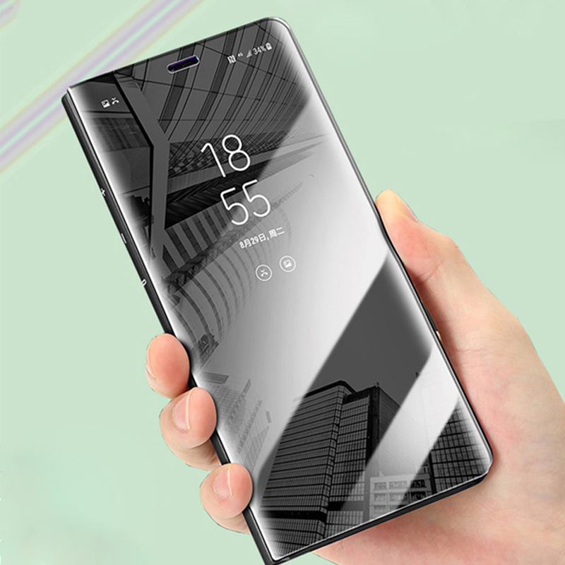 7b208e22df5 Luxury Mirror Flip Phone Case For Samsung Galaxy S9 S8 Plus S7 S6 Edge  Clear View