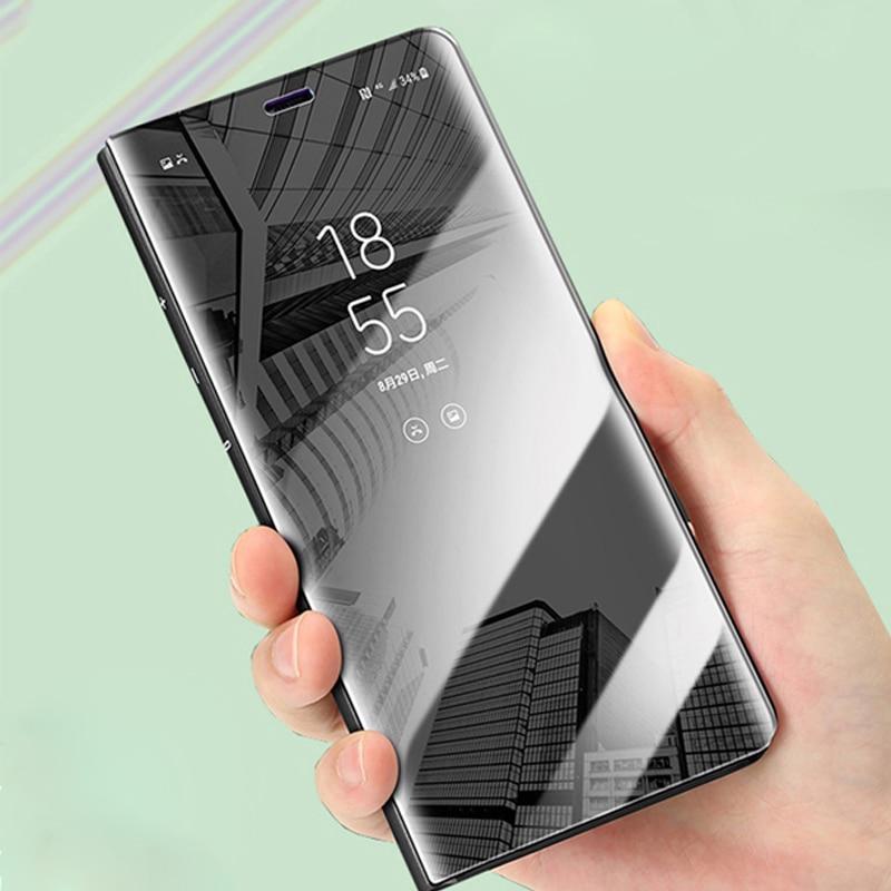 46e0494bfa9 Luxury Mirror Flip Phone Case For Samsung Galaxy S9 S8 Plus S7 S6 Edge  Clear View