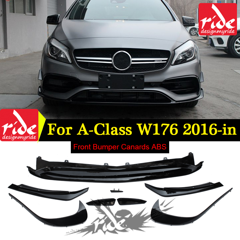 For Mercedes Benz A-Class W176 a180 a200 a250 ABS Front Bumper Lip Canards 8 pieces/set A45 AMG Style Front bumper Splitter 16+