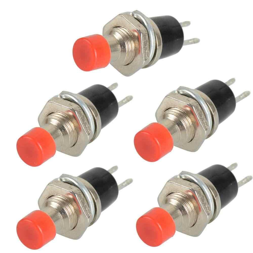 5 chiếc PBS-110 2 PIN 7 MM Nhất Thời Đẩy Nút Bấm Mini Lockless Nhất Thời AC 220 V Tắt mở Micro công tắc RC Đồ Chơi Đỏ Đen Xanh Dương