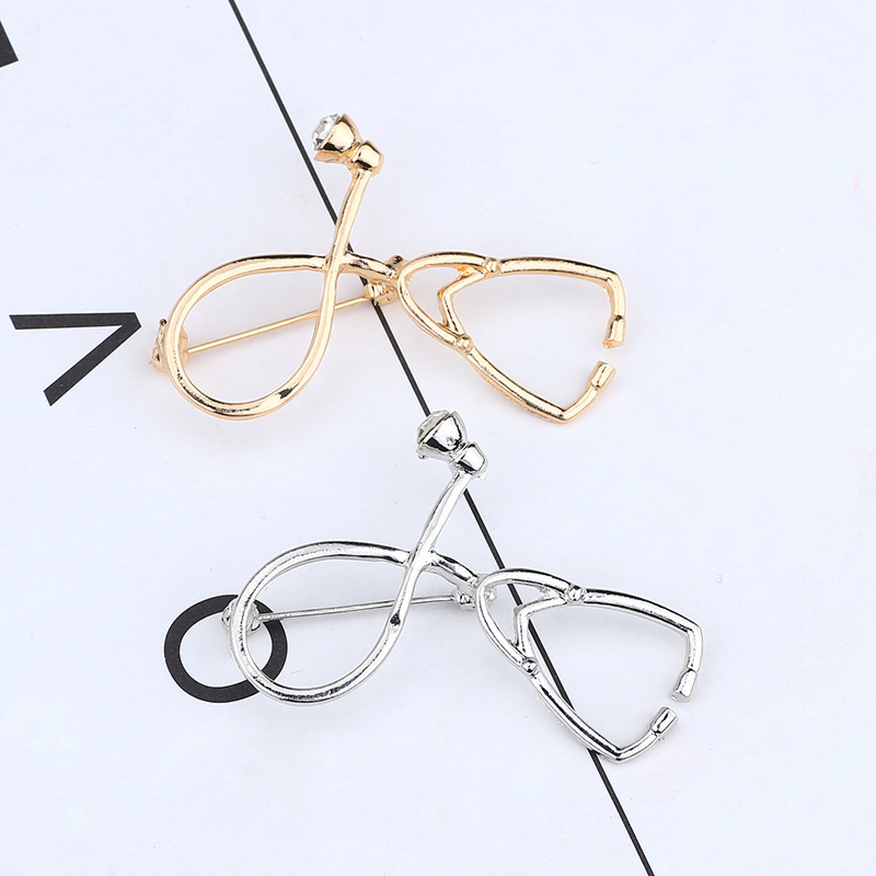 New Fashion Doctor Nurse Stethoscope Needle Brooch Rhinestone Gold Silver Stethoscope Needle Brooch Female Men 39 s Metal Jewelry in Brooches from Jewelry amp Accessories