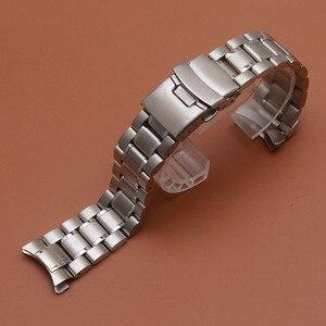 Image 2 - 18มม.20มม.22มม.24มม.สแตนเลสสตีลสร้อยข้อมือนาฬิกาข้อมือนาฬิกาผู้ชายนาฬิกาสายคล้องคอปลายโค้งความปลอดภัยClasp