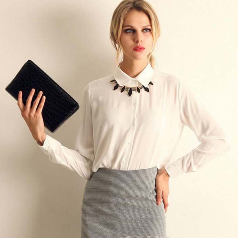 Women OL Chiffon   Blouse     Shirts   2018 Elegant Woman Long Sleeve White Red Black Blue Office Lady   Shirt   Women Business Tops