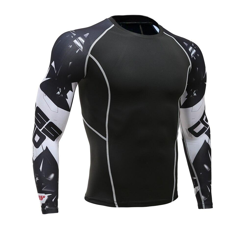 4d7b512303de Mens Eignung Lange Ärmeln Rashguard T-shirt Männer Bodybuilding Hautengen  Wärme Compression Shirts MMA Crossfit