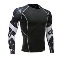 Mens Fitness Long Sleeves Rashguard T Shirt Men Bodybuilding Skin Tight Thermal Compression Shirts MMA Crossfit