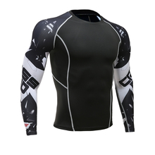 Mens Fitness Long Sleeves Rashguard T Shirt Men Bodybuilding Skin Tight Thermal Compression Shirts MMA Crossfit Workout Top Gear(China)