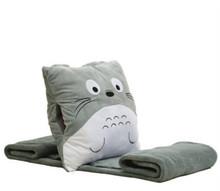 free shipping 2015 new cotton plush baby blanket with cartoon totoro animal square cushion baptism shawls
