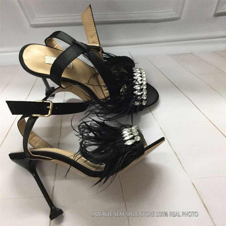 Mode Leder Frauen Sandalen Sommer Marke Schuhe Strass Lila Feder High heel Sandalen Hochzeit Schuhe sandalia feminina-in Hohe Absätze aus Schuhe bei  Gruppe 3