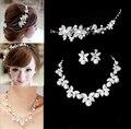 2014 Diseño de Moda Flor de Perlas de Cristal de Novia 3 unids Set Collar Pendientes Tiara Nupcial Conjunto Joyería de La Boda Accesorios Para la Mujer