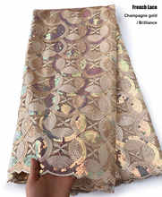 brilliant sequins top grade African french lace fabric rich bridal celebration sewing dress cloth 5 yards high quality