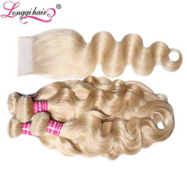Longqi 613 Honey Blonde Bundles With Closure Body Wave Brazilian Hair Weaves 4x4 Blonde Bundles With Closure  Remy Human Hair 1