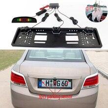 Parking Sensor Kit 3 Sensors Reversing Radar Detector LED European License Plate Radar Front Back Electromagnetic Monitor System цена в Москве и Питере