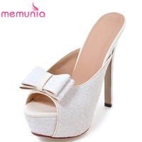 MEMUNIA Simple Bowknot Peep Toe Summer Shoes New Arrive Women Sandals Fashion Glitter Slip On Leisure