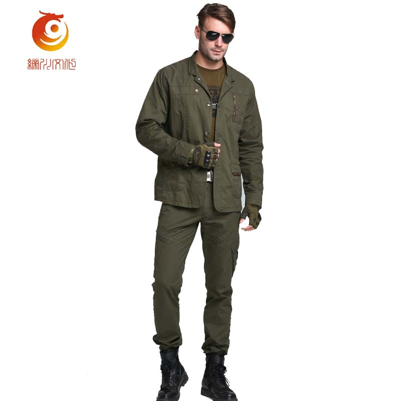 Autumn New Mens Jackets Casual Military Style Slim Fit Thin Cotton Jacket Solid Color Long Sleeves Mens Jacke Size 3XL ...