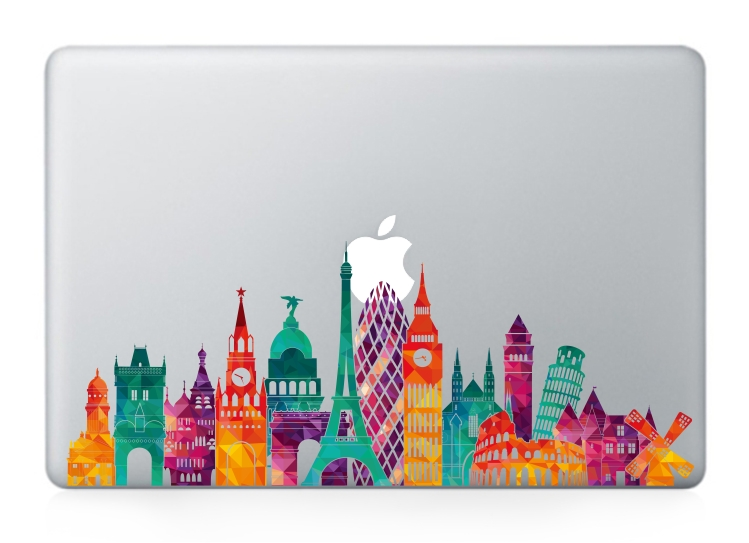 YCSTICKER - Laptop Vinyl Partial Decal DIY Personality City Sight Landmark Skin For MacBook Air Pro Retina 11 12 13 15 Sticker
