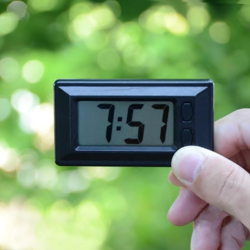 Interior Self-Adhesive Time Clock Mini Small Bracket Desk LCD Display Digital Vehicle With Calendar LCD Screen