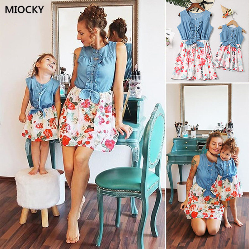 Mom and Daughter Garments Household Matching Outfits Denims Floral Costume 2019 Summer season Chiffon Lady Girls Boho Free Costume E092 Matching Household Outfits, Low cost Matching Household Outfits, Mom...
