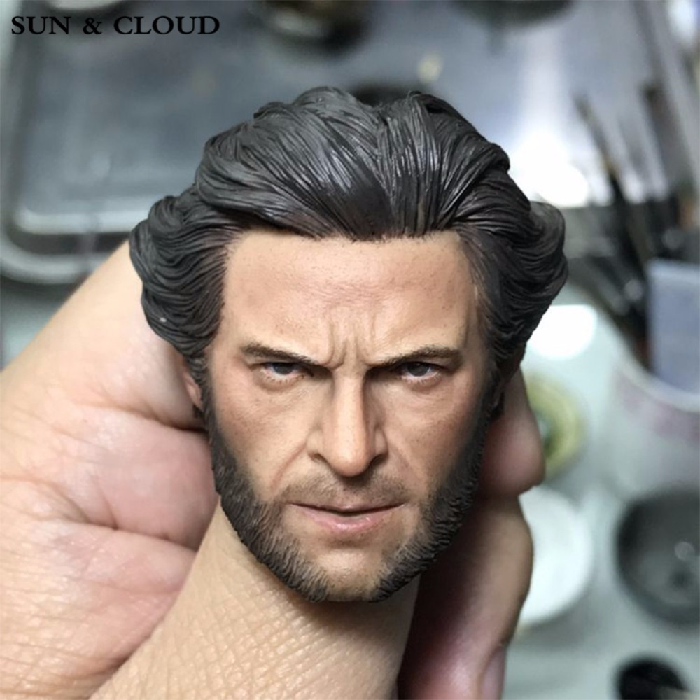 SUN & CLOUD 1/6 Scale Wolverine Original Logan Hugh Jackman Head Sculpt Male Solider Head Carving Model mak custom 1 6 scale hugh jackman head sculpt wolverine male headplay model fit 12kumik body figures