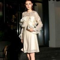 Короткие кружево блесток плиссированное платье вышивка сетки выдалбливают Элегантный корейский с длинным рукавом Вечеринка летн