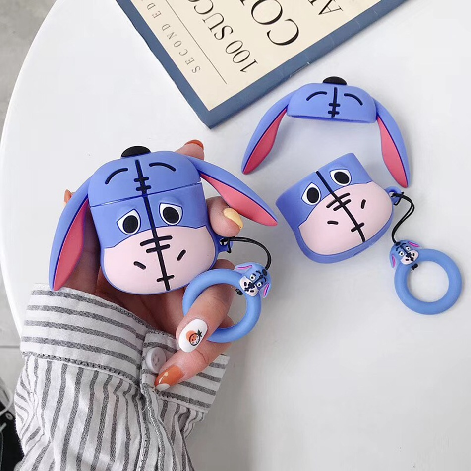 For AirPods Case 3D Cute Cartoon Donkey Earphone Case For Airpods 2/i10/i11/i12 TWS Soft Protect Cover With Finger Ring Strap