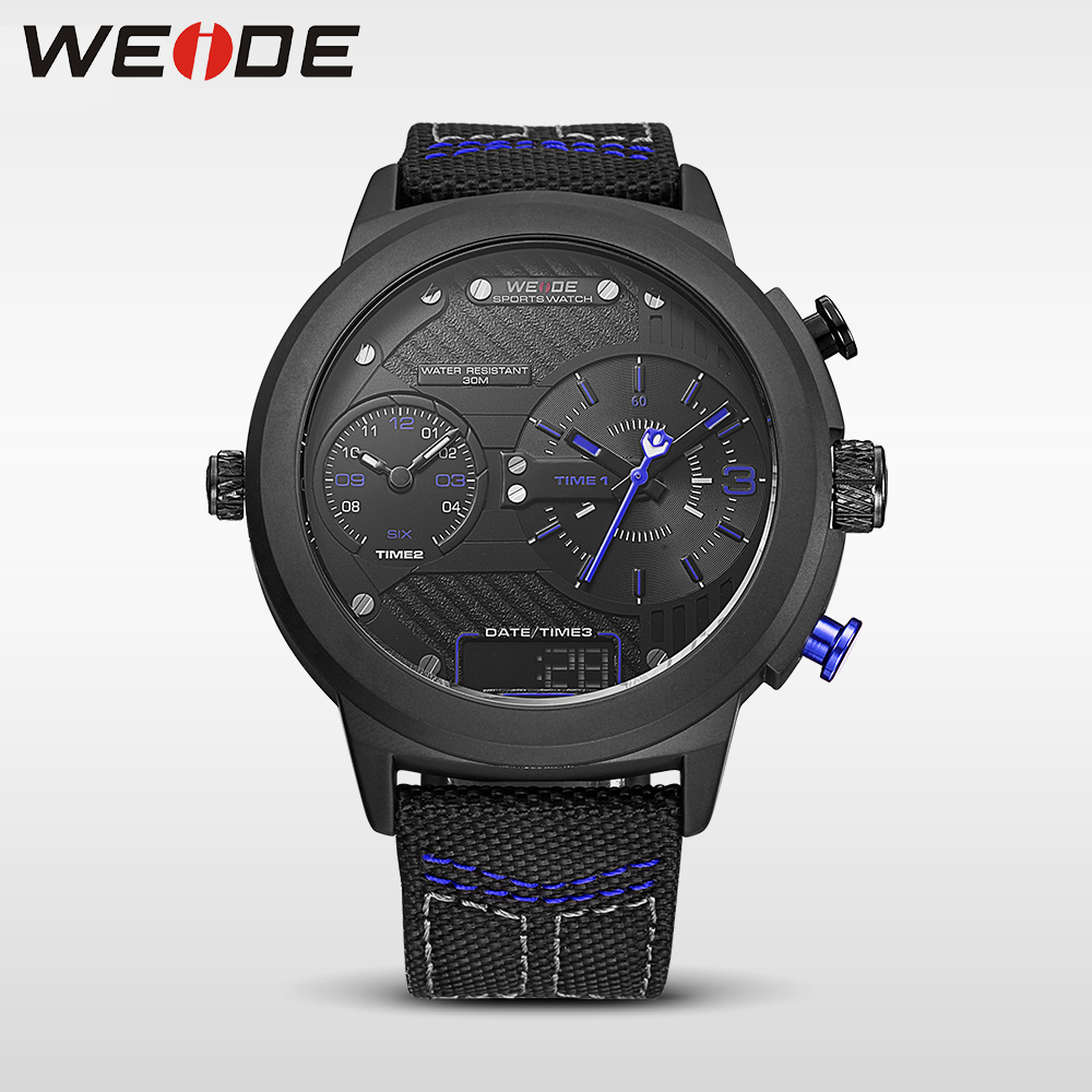 купить WEIDE luxury genuine nylon watchband Double time zone round big dial watch quartz men sports watchwater resistant digital clock недорого