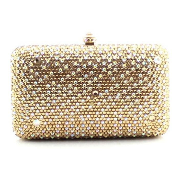 Femmes fond plat forage or sac de soirée autriche importé cristal plein diamant sac à main mini mariage boîte sac dame
