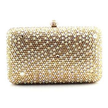 women Flat bottom drill gold evening bag Austria imported crystal full diamond handbag mini wedding party box bag lady