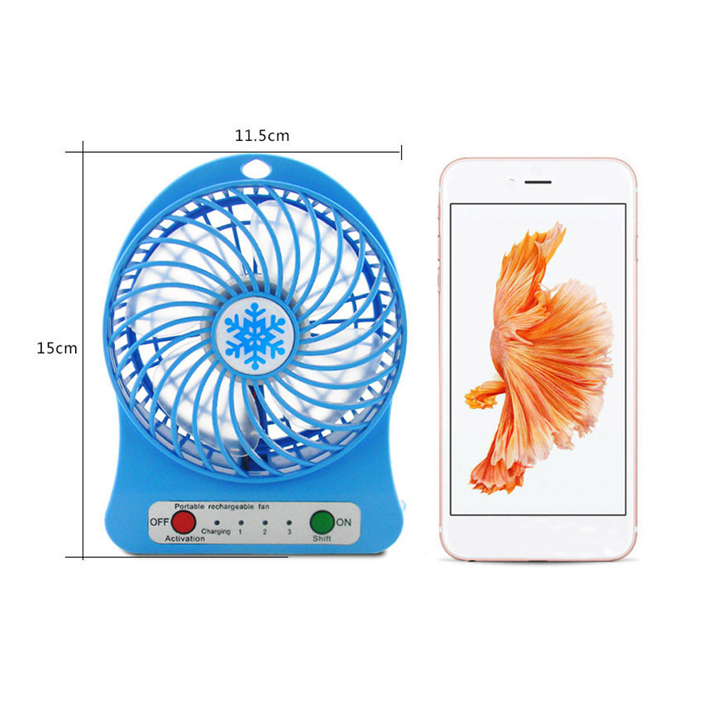 1PC Portable Personal Mini Fan Indoor Outdoor USB Rechargeable Fans Adjustable 3 Speed Office Desk Cooler Fan Summer Air Cooler in Outdoor Tools from Sports Entertainment