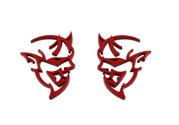 2 pcs Red DEMON for Challenger Charger Wing Side Fender Emblem Badge Sticker auto chrome camaro letters for 1968 1969 camaro emblem badge sticker