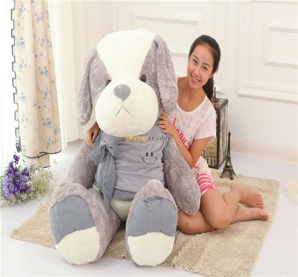 Fancytrader 55'' / 140cm Giant Stuffed Soft Plush Cute Dog Toy, Great Gift For Kids, Free Shipping FT50366 fancytrader 2015 novelty toy 24 61cm giant soft stuffed lovely plush seal toy nice gift for kids free shipping ft50541