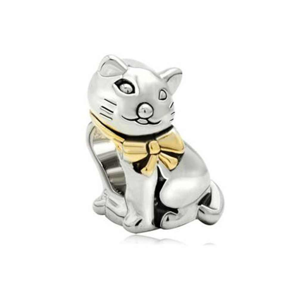 c1d462e65 Free shipping Gifts plated 22k Gold Cute Cat Animal Charm fit Pandora  bracelet