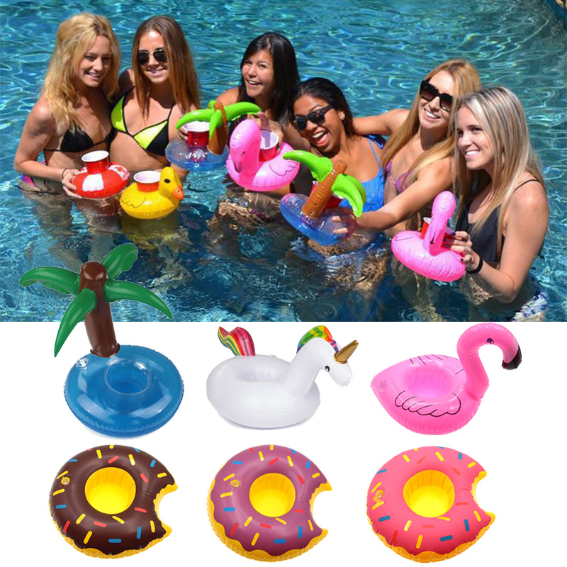 Cute Inflatable Unicorn/Flamingo Drink Can Cell Phone Holder Floating Swimming Stand Pool Bathing Beach Event Party Kids Toy