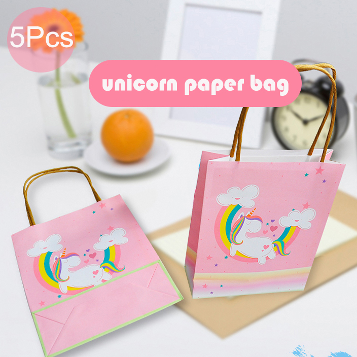 New 5Pcs Cute Flying Horse Paper Gift Bag Pink Cake For